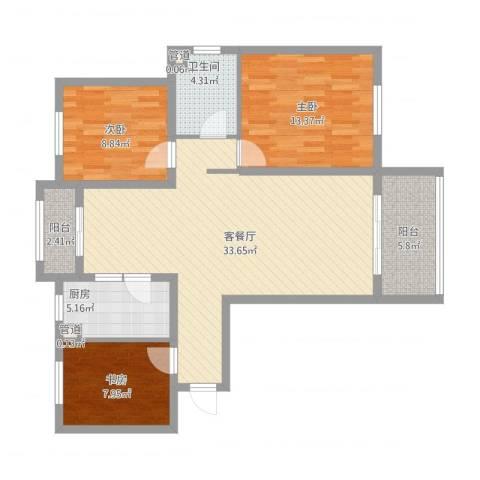 诚德盛世原著3室1厅1卫1厨118.00㎡户型图