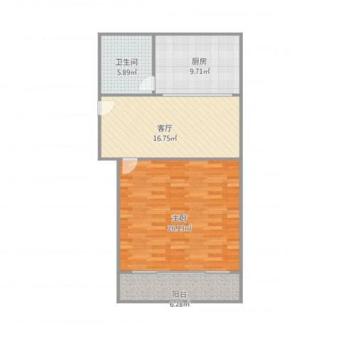 莱阳新家园1室1厅1卫1厨87.00㎡户型图