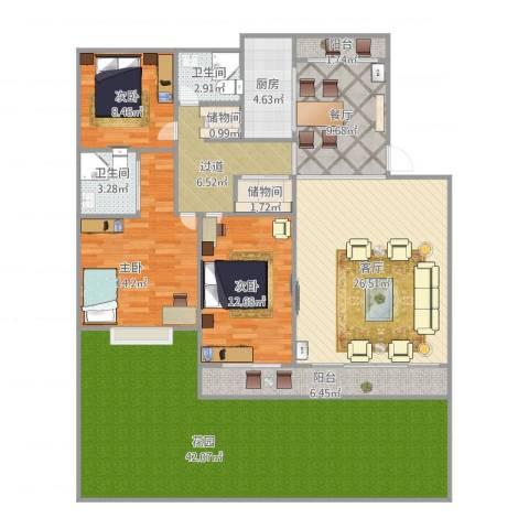 宏润韶光花园3室2厅2卫1厨191.00㎡户型图