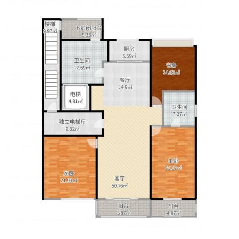 万科蓝山3室1厅5卫2厨235.00㎡户型图