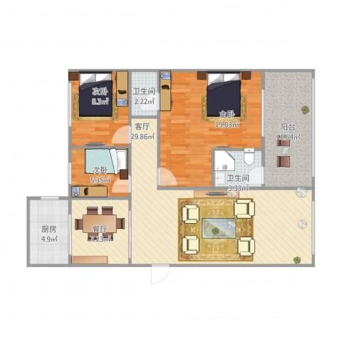 雅居庭雅乐居4023室2厅2卫1厨122.00㎡户型图