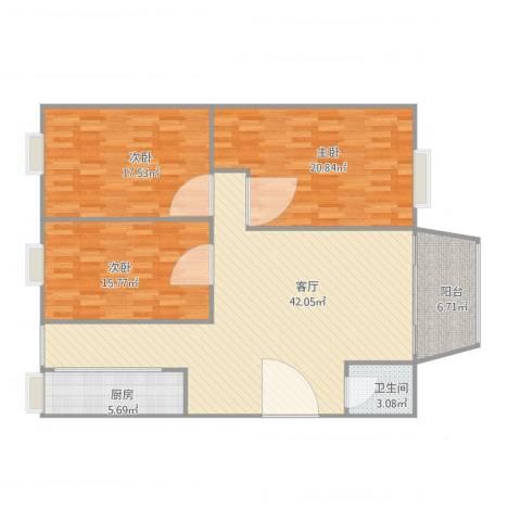 红棉雅苑12座9楼3室1厅1卫1厨149.00㎡户型图