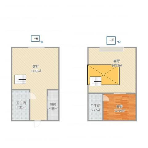 都市亮点1室2厅2卫1厨125.00㎡户型图