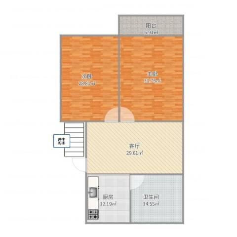 玉兰小区2室1厅1卫1厨163.00㎡户型图