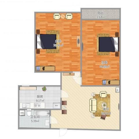 宝华新区2室1厅1卫1厨131.00㎡户型图
