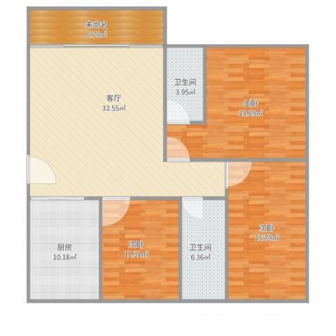 乐然居3室1厅2卫1厨141.00㎡户型图