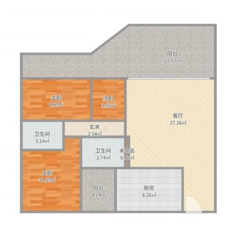 银星雅苑3室1厅2卫1厨129.00㎡户型图