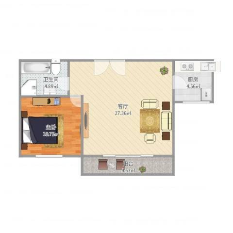 当代高邸1室1厅1卫1厨70.00㎡户型图