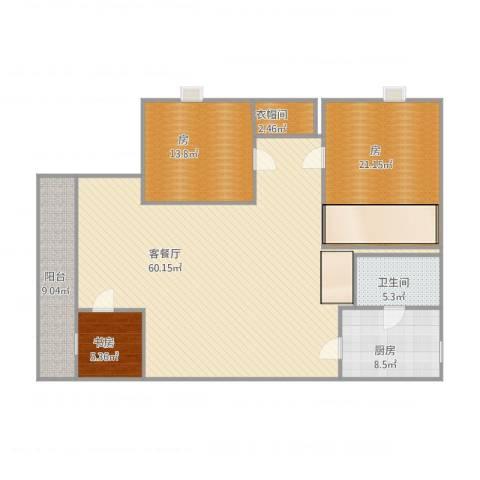 环湖花园1室1厅1卫1厨167.00㎡户型图
