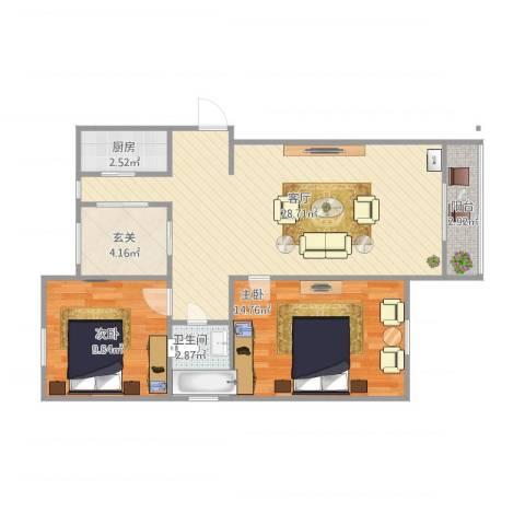 绿地望海新都(绿地领御)2室1厅1卫1厨70.29㎡户型图