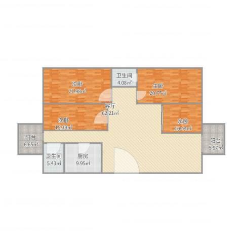 倚翠园4室1厅2卫1厨216.00㎡户型图