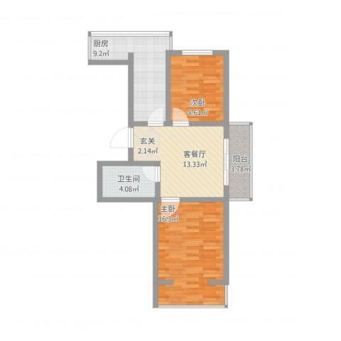 华新名筑2室1厅1卫1厨81.00㎡户型图