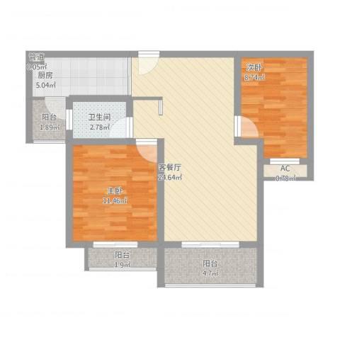 银河湾星苑2室1厅3卫1厨91.00㎡户型图