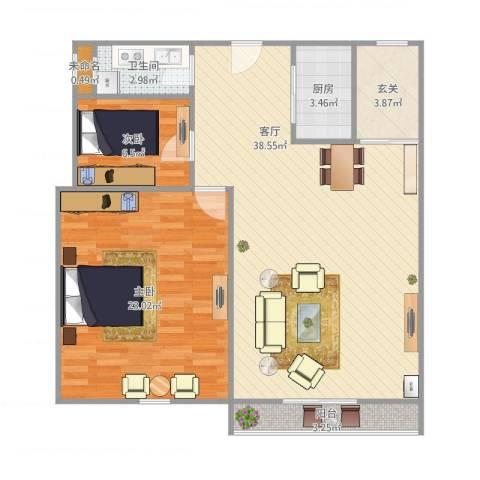 绿地望海新都(绿地领御)2室1厅1卫1厨88.01㎡户型图