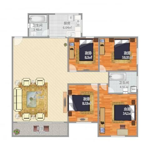 华远西小区4室1厅2卫1厨141.00㎡户型图