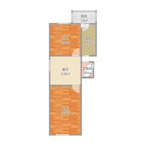 荣强里2室1厅1卫1厨60.00㎡户型图