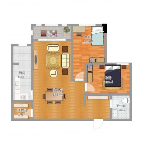 三川御锦台2室1厅1卫1厨104.00㎡户型图