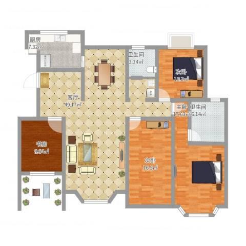 天房海滨园4室1厅2卫1厨171.00㎡户型图