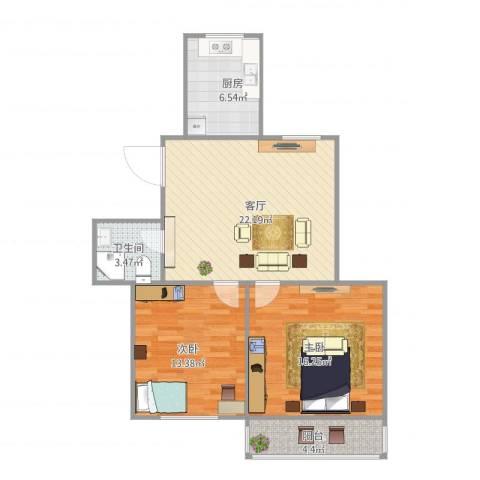 鹏海小区2室1厅1卫1厨89.00㎡户型图