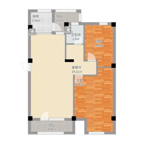 万科假日风景2室1厅1卫1厨107.00㎡户型图