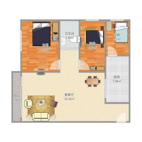 加和领御名苑3室1厅1卫1厨98.00㎡户型图