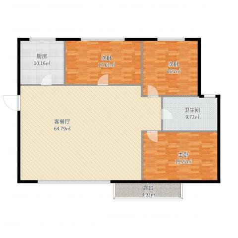 亿达国际新城3室1厅1卫1厨190.00㎡户型图