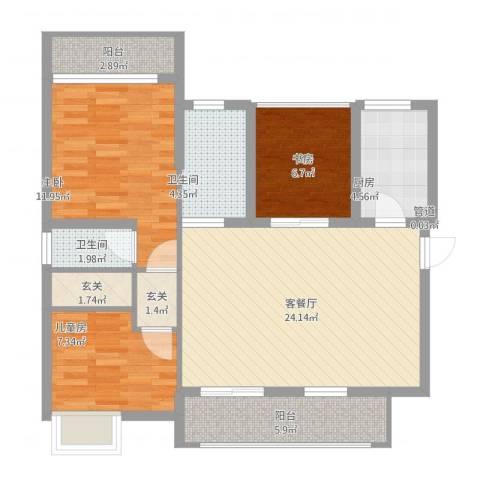 丽水佳园3室1厅2卫1厨106.00㎡户型图