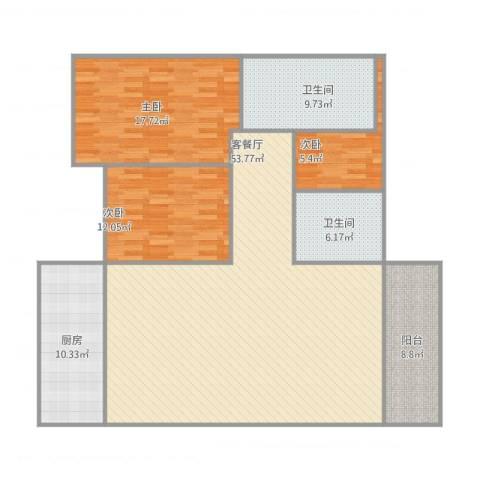 南华园小区3室1厅2卫1厨165.00㎡户型图