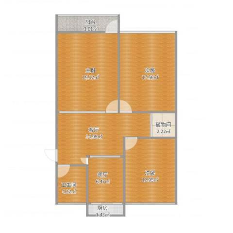 洪家楼北路宿舍3室2厅1卫1厨111.00㎡户型图