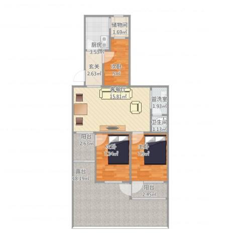 平原里3室2厅1卫1厨96.00㎡户型图