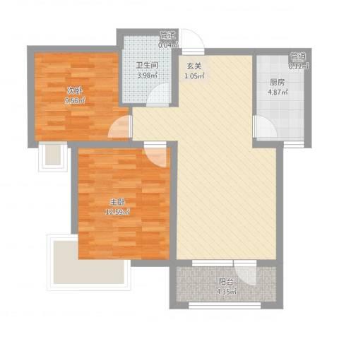 我爱我家2室1厅1卫1厨86.00㎡户型图