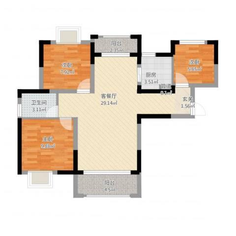 德晟君园3室1厅1卫1厨97.00㎡户型图