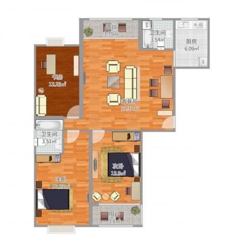金色水岸3室1厅2卫1厨132.00㎡户型图