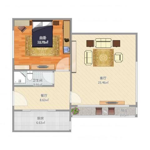 海运新村1室2厅1卫1厨84.00㎡户型图