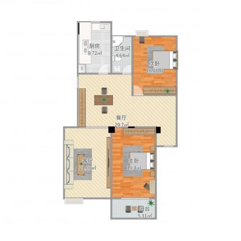 河滨花园2室2厅1卫1厨143.00㎡户型图