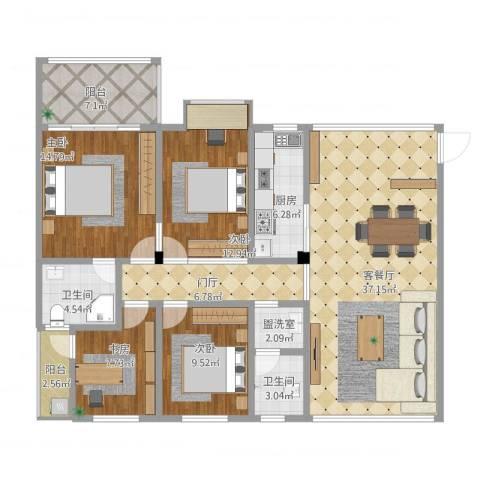华盛世纪新城4室2厅2卫1厨162.00㎡户型图