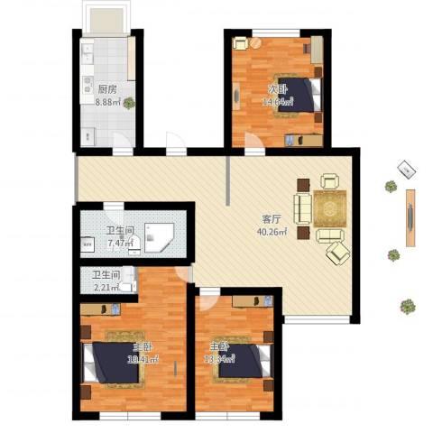 天通苑本三区3室1厅2卫1厨154.00㎡户型图