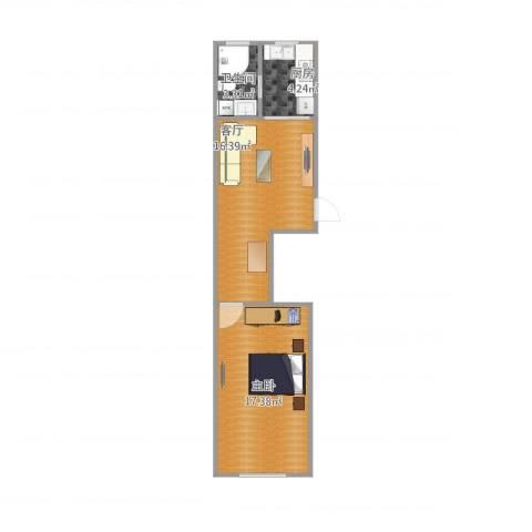逸仙路1321弄小区1室1厅1卫1厨56.00㎡户型图