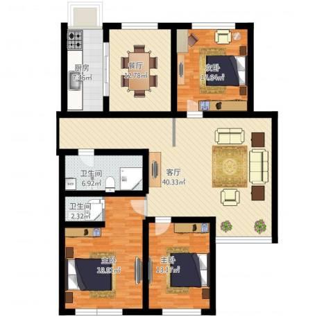 天通苑本三区3室2厅2卫1厨170.00㎡户型图