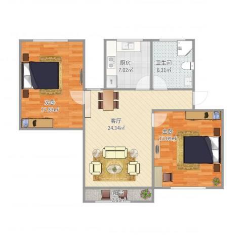 东陆三街坊2室1厅1卫1厨101.00㎡户型图