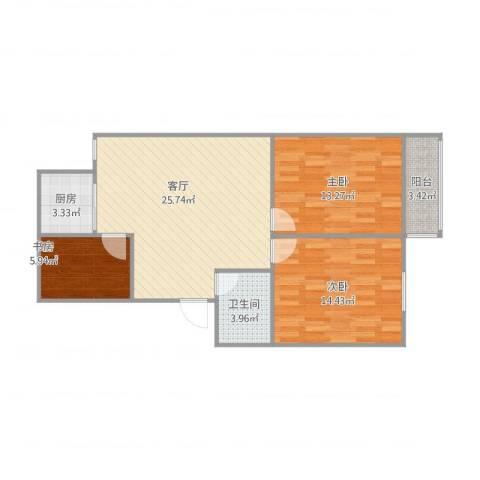 康盛花园3室1厅1卫1厨94.00㎡户型图
