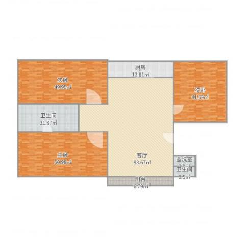 天山花园3室2厅2卫1厨368.00㎡户型图