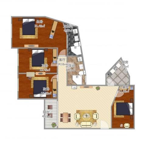 金湖雅苑4室1厅2卫1厨151.00㎡户型图