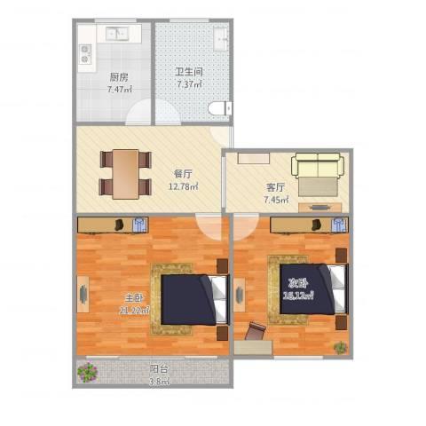 华佳花园2室2厅1卫1厨102.00㎡户型图
