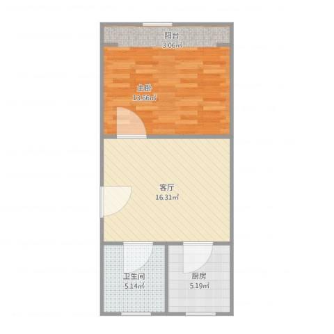 古北新城酩悦1661室1厅1卫1厨59.00㎡户型图