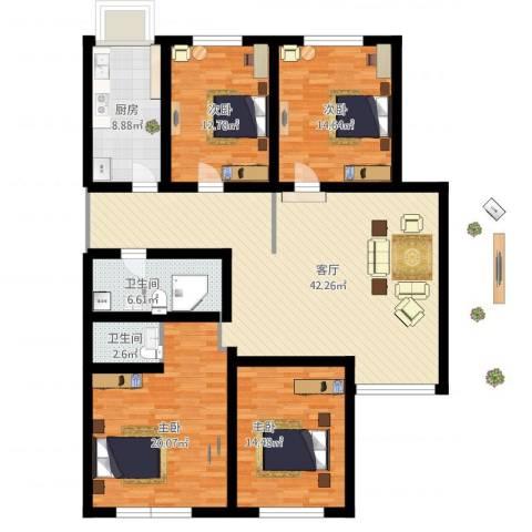 天通苑本三区4室1厅2卫1厨178.00㎡户型图