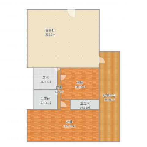 海逸阁E2室1厅2卫1厨745.00㎡户型图
