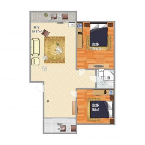 荷香村2室1厅1卫1厨78.00㎡户型图