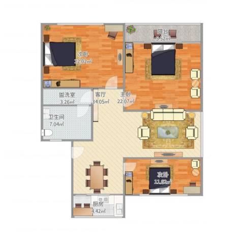 湖滨苑3室2厅1卫1厨147.00㎡户型图