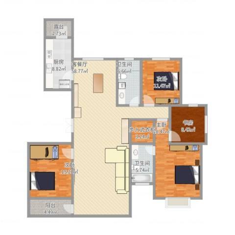 杏林苑小区4室1厅2卫1厨201.00㎡户型图